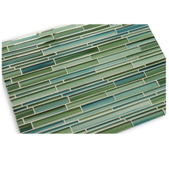 Swimming Pool Tile Rip Curl Green and Blue Hand-Painted Linear Glass Mosaic Tile