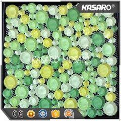 Shining Glossy Green Tile Round Mosaic Patterns