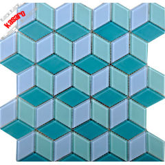 swimming pool tile blue rhombus glass mosaic tile for bathroom