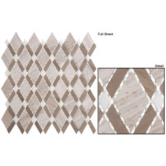 Wooden White Big Diamond  Gray Stone Mosaic For  Backsplash