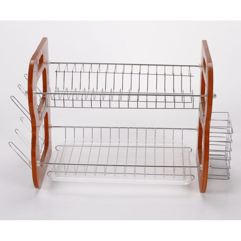 Custom Home kitchen display rack wood 2 tier dish drainer rack with cup and chopsticks holder