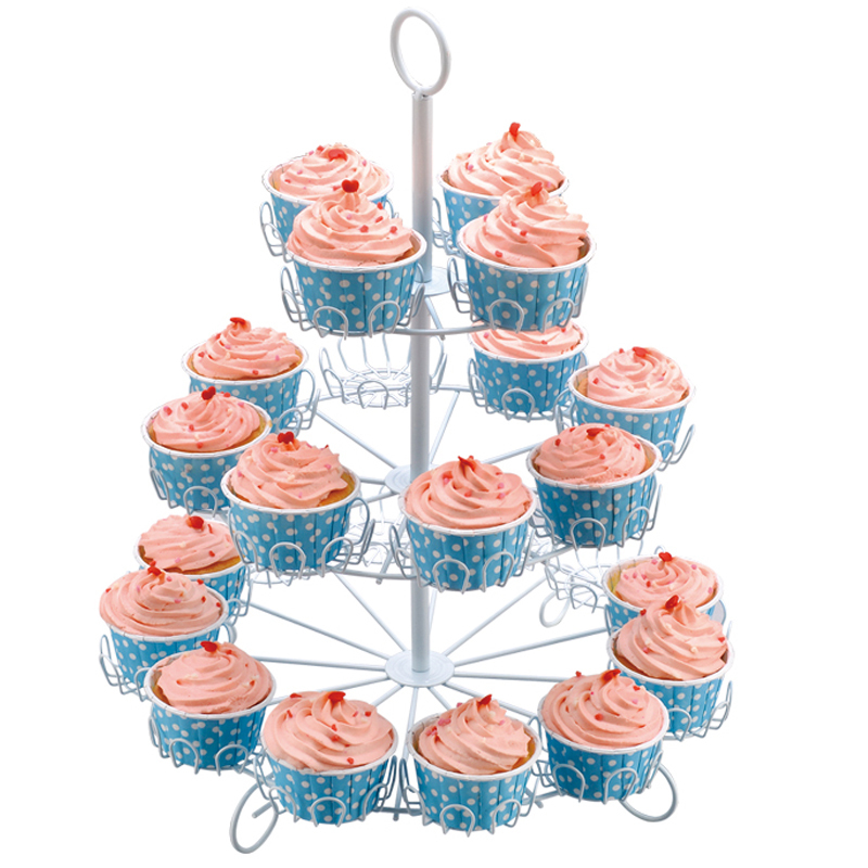 Party supplies decorative white powder coated 3 tier metal cake stand for wedding party