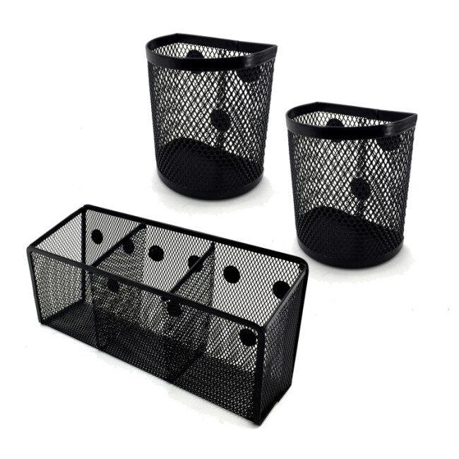 Office wire magnet desk organizer black color mesh metal desktop magnetic storage pen pencil cup