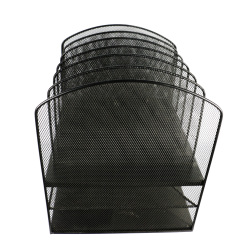 6 Compartment 2 tiers mesh desktop document tray brochure stand magazine file holder