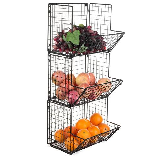 Kitchen household easy assemble metal wire mesh black 3 tier wall hanging food fruit storage basket for Bin Rack Bathroom Holder