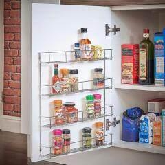 Cabinet shelf storage wall organizer 4 tier steel metal hanging wire kitchen spice rack for pepper holder