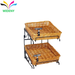 2 tiers wicker basket bread chips counter wrought wire metal display stand