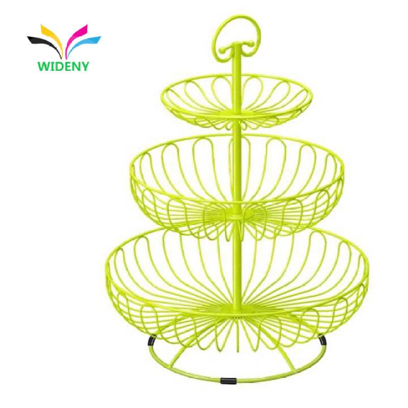 Home Kitchen Modern Storage Holder Chrome Rose Gold Stand Metal mesh Wire Fruit Basket