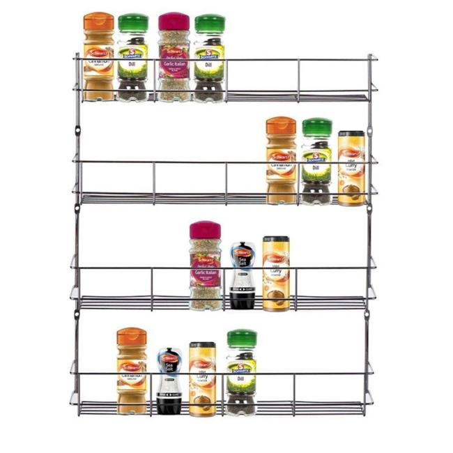 Cabinet shelf storage wall organizer 4 tier steel metal hanging wire kitchen spice rack for pepper holder