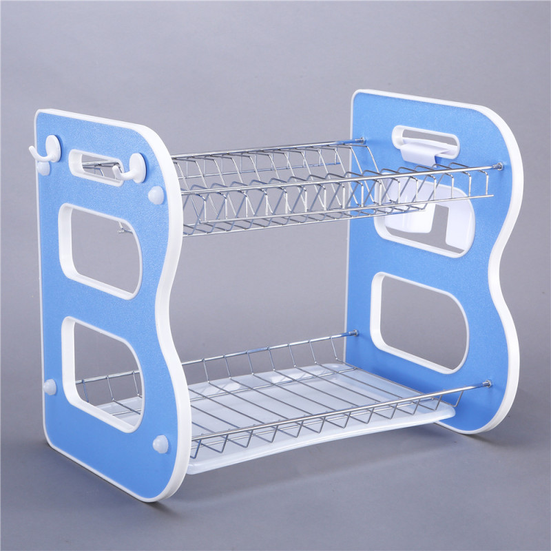 Wideny Desktop plastic ABS 2 layer foldable stainless steel chrome wire iron metal kitchen foldable Dish drainer drying rack