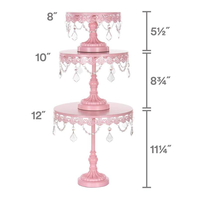 Set of 3 Cupcake Stand Round Pink Metal Iron Cake Stand With Crystal Beads for Wedding Party Birthday