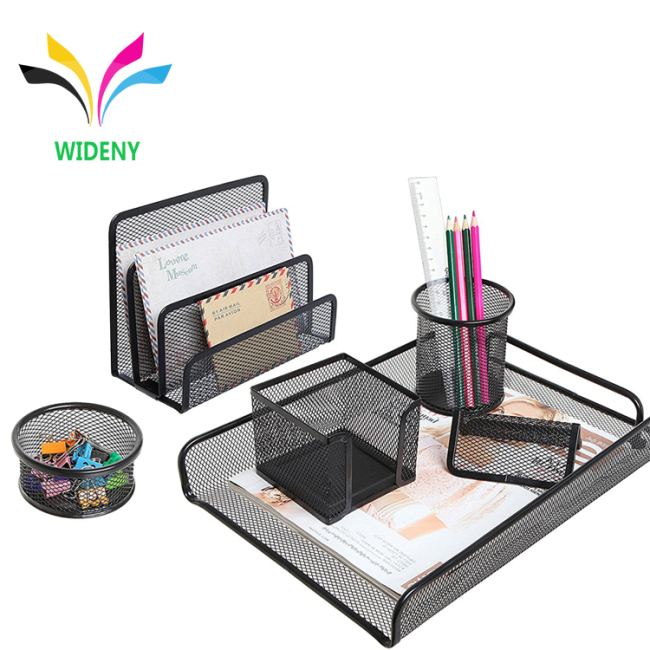 WIDENY Desktop Office black powder coated Metal Mesh Desk stationery set for Office School Supplies