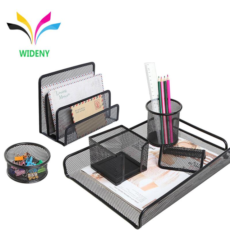 WIDENY Desktop Office black powder coated Metal Mesh Desk stationery set for Office School Supplies