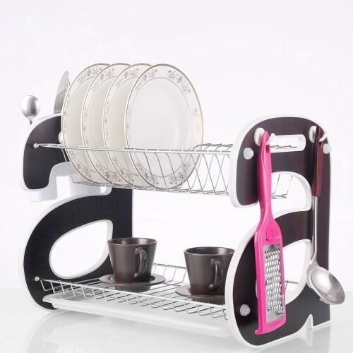 Home kitchen organization holder 2 tier metal MDF side dish rack with hooks