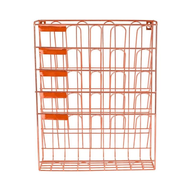Home Office Supplies Wall Mount Document Letter Tray Rose Gold File Organizer Holder for Magazine Hanging Rack