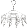 Wholesales Supplier Round Cloth Hanger 12 Clip Laundry Portable Stainless Steel Clothes Hanger Hooks