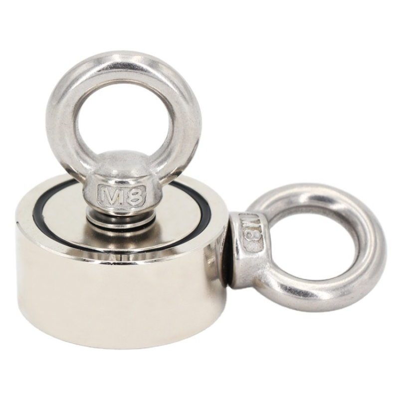 Strong Search And Salvage Pot Fishing Magnet whit Double Eyebolts Stainless Steel Hook