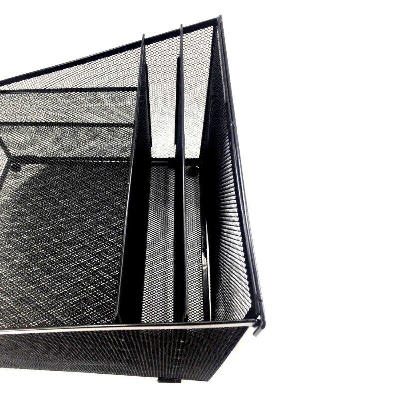 Office supplies sorter foldable mesh metal desktop file desk organizer for document