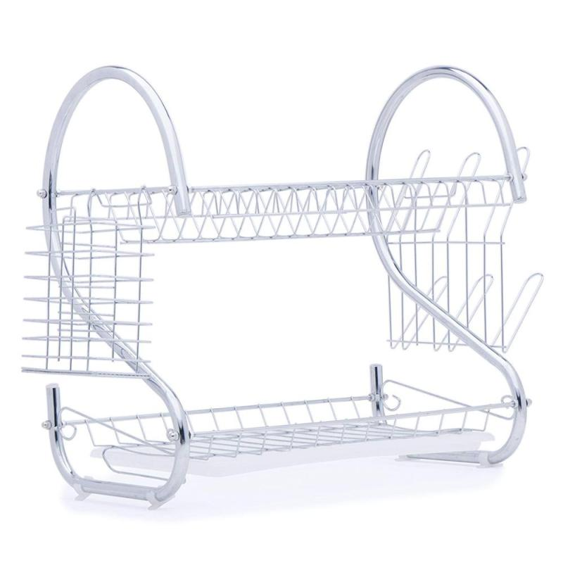 Hot Sale home Kitchen tableware organizer 2 Tiers folding white metal the Sink Dish Rack for drainer