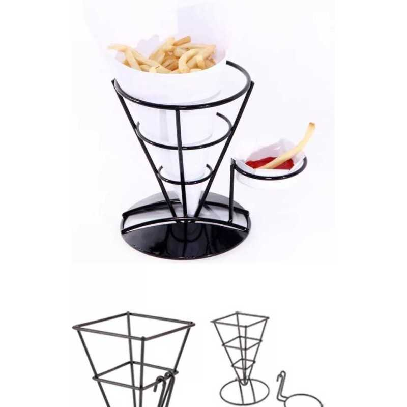 French Fry Holder with Ketchup Cups Set  Fries Cone Basket Stand french fries cone holder