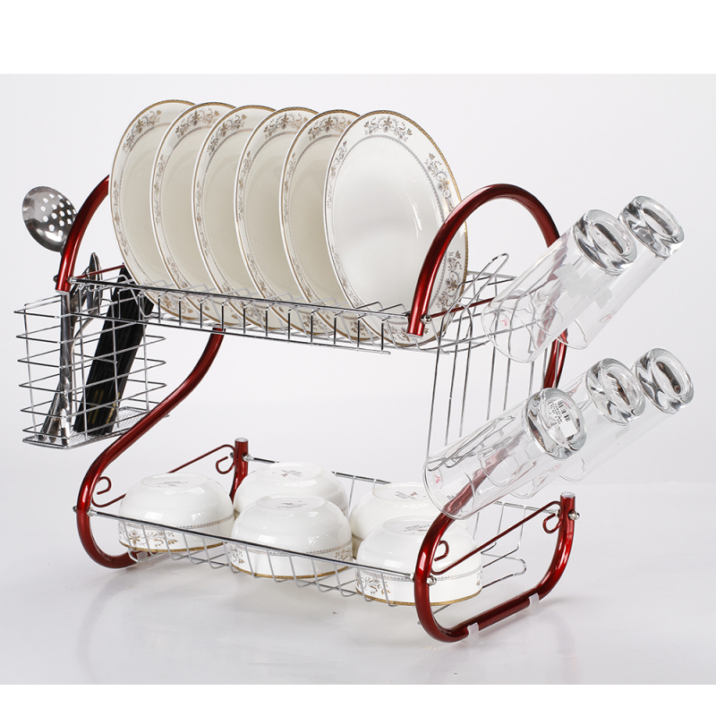 Hot Sale Deluxe Metal S Shape Rust Proof Kitchen 2-Tier Dish Rack with Drainboard and Cutlery Cup