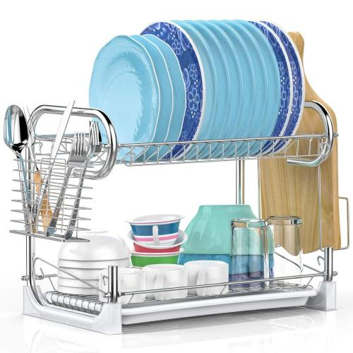 Factory directly large 2 tier modern kitchen cabinet metal dish drying rack with chopsticks holder