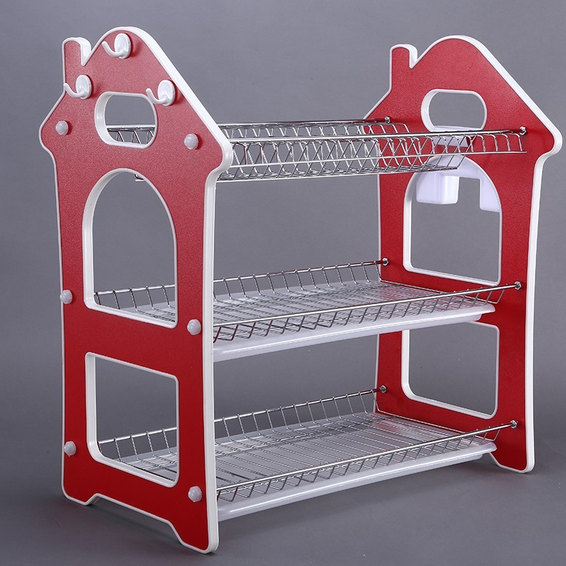 Amazon Hot Sale Multipurpose Dish Drainer Rack Red Stainless Steel Kitchen PP Drainer Sink Dish Rack