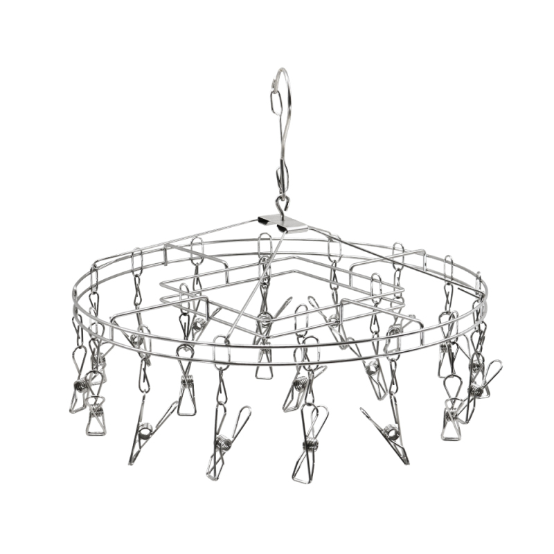 Wholesaler Home Rotating Dryer Custom Stainless Steel Round Clothes Hanger with 20 Clips