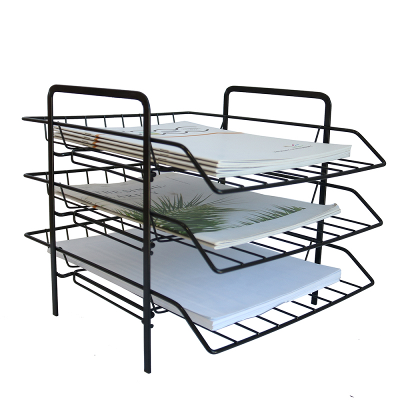 Wideny Folding Desktop 3 Tier Tray Organizer Wire Metal Copper Rose Gold Document Letter Tray