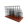 Wideny Stationery Black Desktop Metal Wire Mesh Wood Based  Letter Holder and File Organizer for Desk