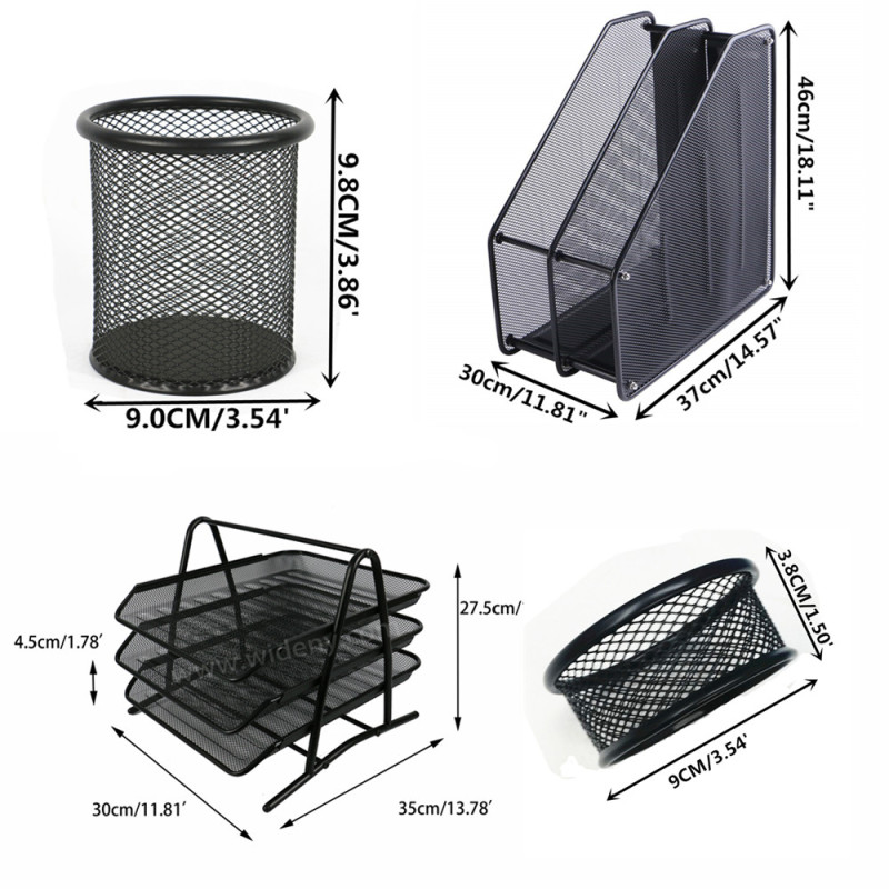 School office supply stationery Wideny powder coated metal wire mesh 7pcs 3 tier file tray storage organizer desk set