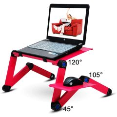 WIDENY Home Portable Aluminium Desktop Sofa Bed Adjustable Multifunctional Folding Computer Laptop Desk Table for Home Office