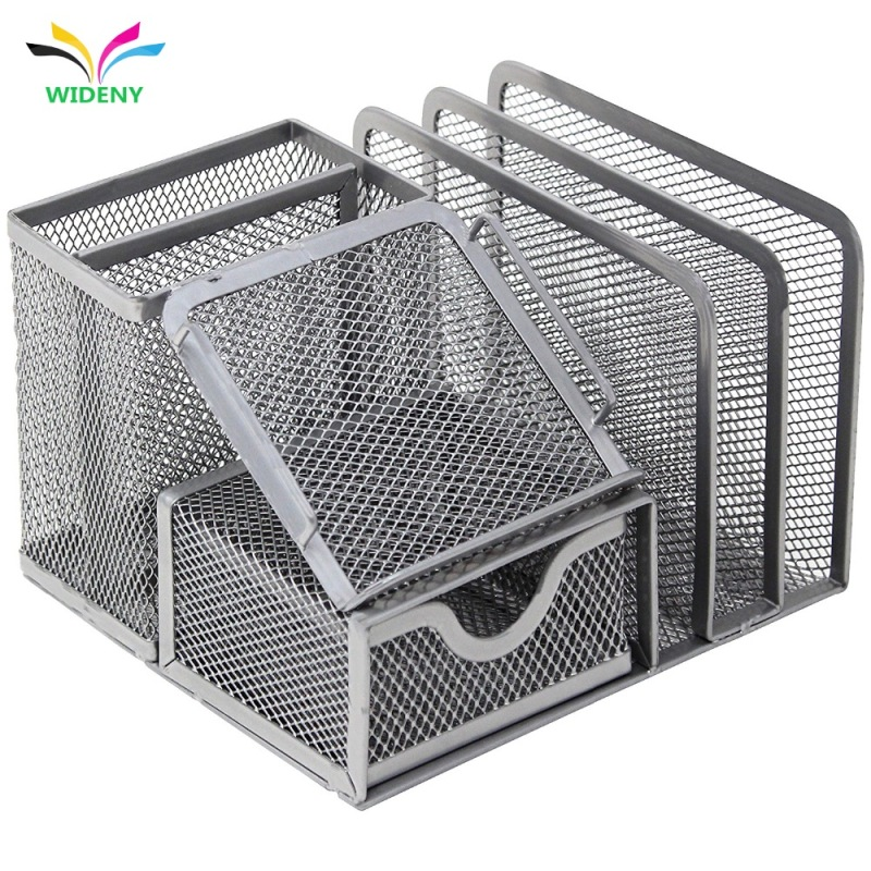 Wideny metal mesh office desk organizer storage