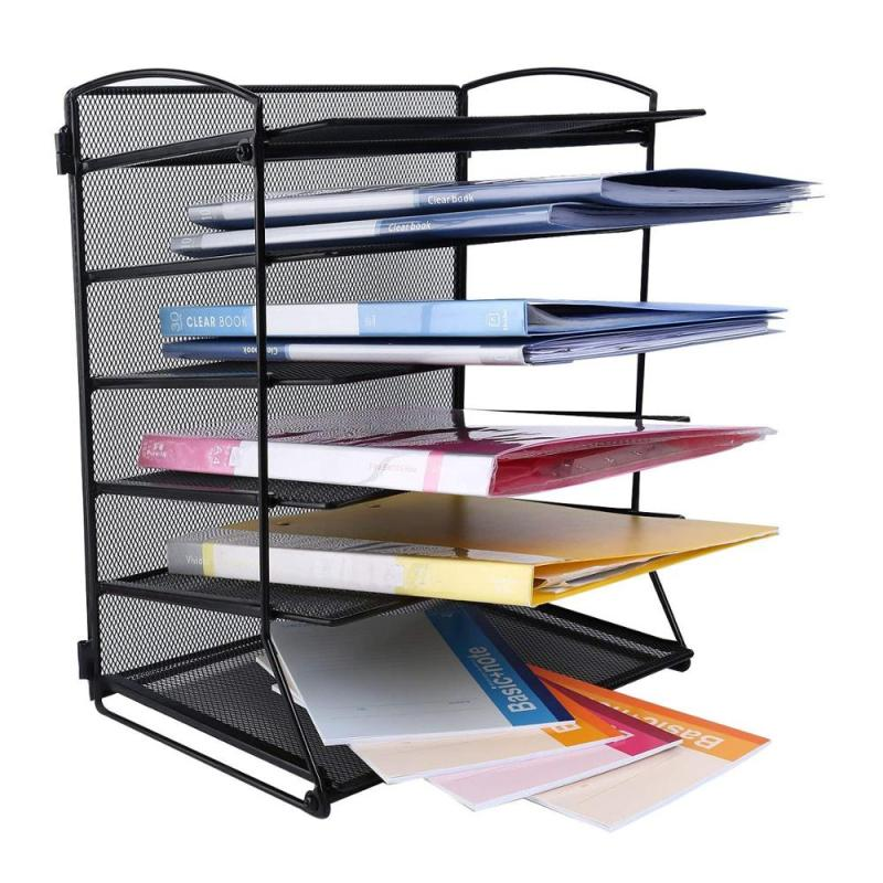 Home Office Black Desk Top  Metal 6 Tier Document Mesh Organizer for Document Folder Letter Magazine Holder and Paper Rack