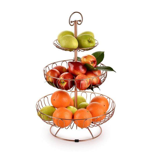 Factory Supply Wholesale Kitchen Fashion design 2 tier mesh metal wire fruit basket