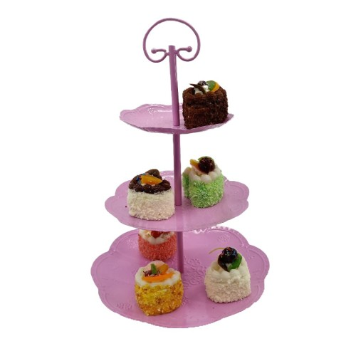 Hot sale custom 3-tier birthday wedding tea party pink color metal round cake stand
