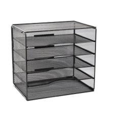 New design multi-functional black mesh wire desktop office file organizer for 5-Drawer Storage File Cabinet