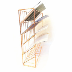 2018 new design Wideny powder coated 5 tiers hanging metal mesh wire iron steel  rose gold office wall file organizer