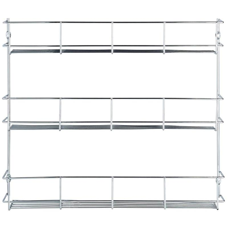 Kitchen use cabinet shelf storage wall organizer 3 tier steel metal hanging wire herb jar spice rack for pepper holder