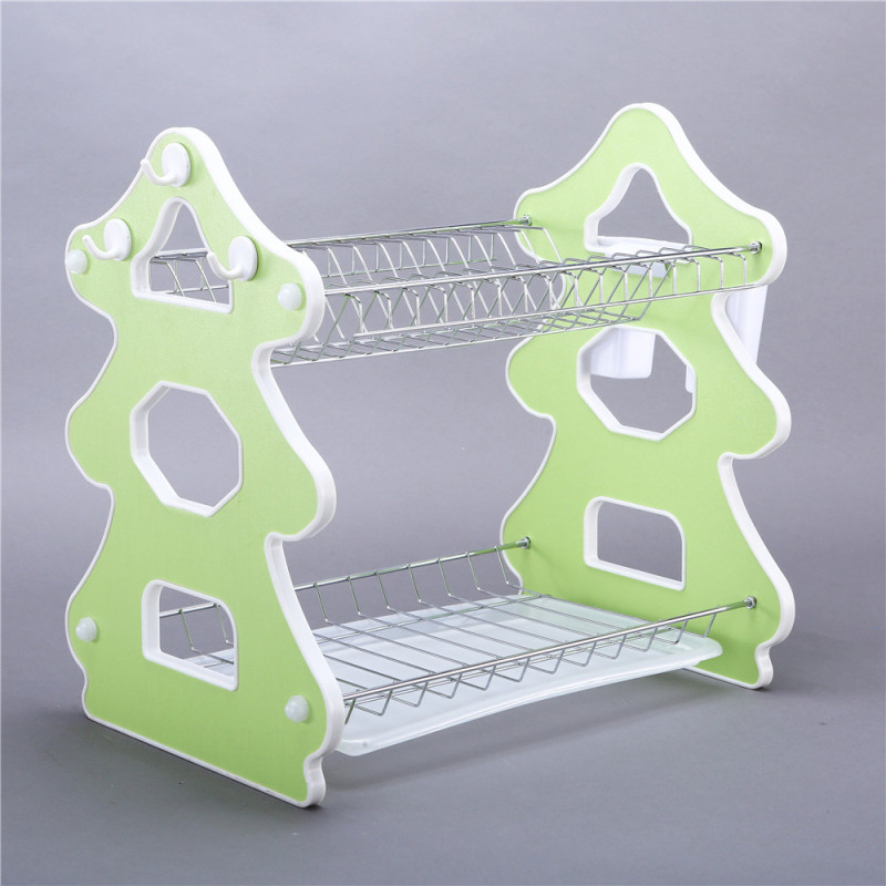 Plastic ABS 3 tier foldable stainless steel chrome folding double kitchen dish drying rack with metal basket