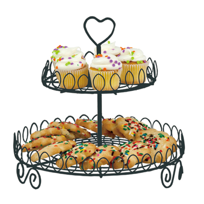 Decorative Folding Disposable Cheap Price 2 Tier Carriage Round Metal Rotating Party Cake Stand