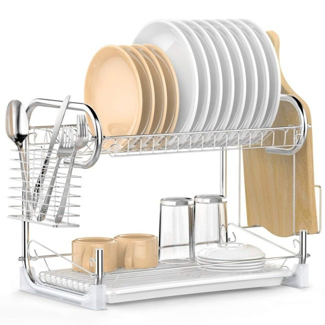 Wholesale Simple Human Kitchen White 2 Tier Metal Wire Over The Sink Dish Drying Rack for Storage Bowl