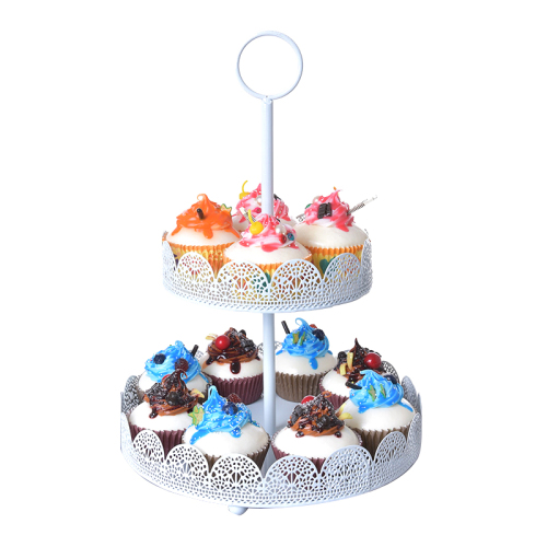 Wideny eco-friendly wire metal mesh steel iron 2 tiers cake stand wedding christmas party cupcake Stand