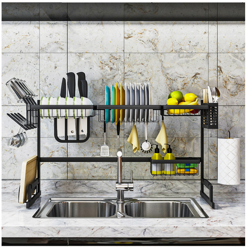 Wideny wholesale multi-function over the sink Removable black metal stainless steel utensil holder for foldable kitchen