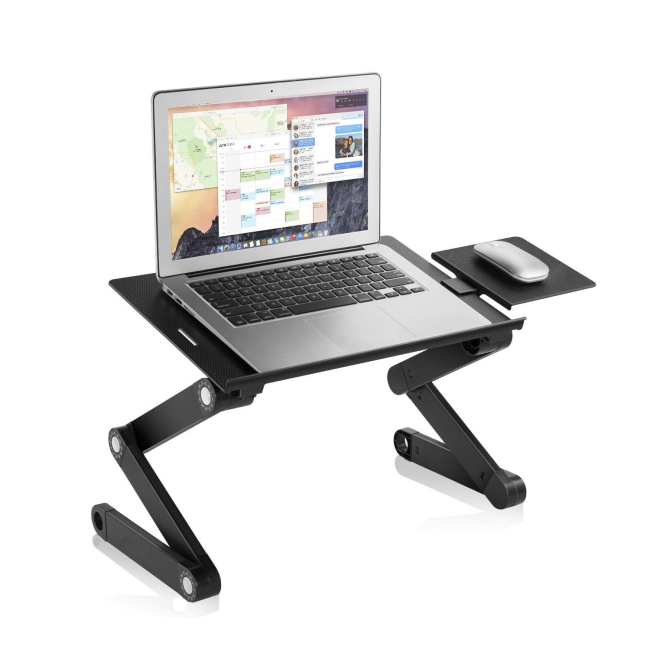 Black Foldable Adjustable Laptop Desk, Portable Aluminum Laptop Stand, Ergonomic Laptop Table with 2 CPU Cooling Fans