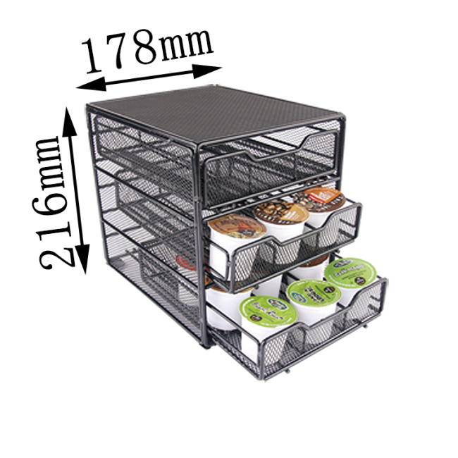 360-Degree Rotation Compatible 4-Tier 36 Pod Capacity for K-Cups Coffee Capsule Drawer Holder