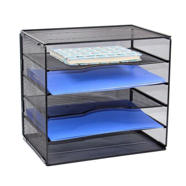 Wideny Office Black Metal Wire Mesh 5 Tier Assembly Adjustable Desktop File Sorter Storage Organizer