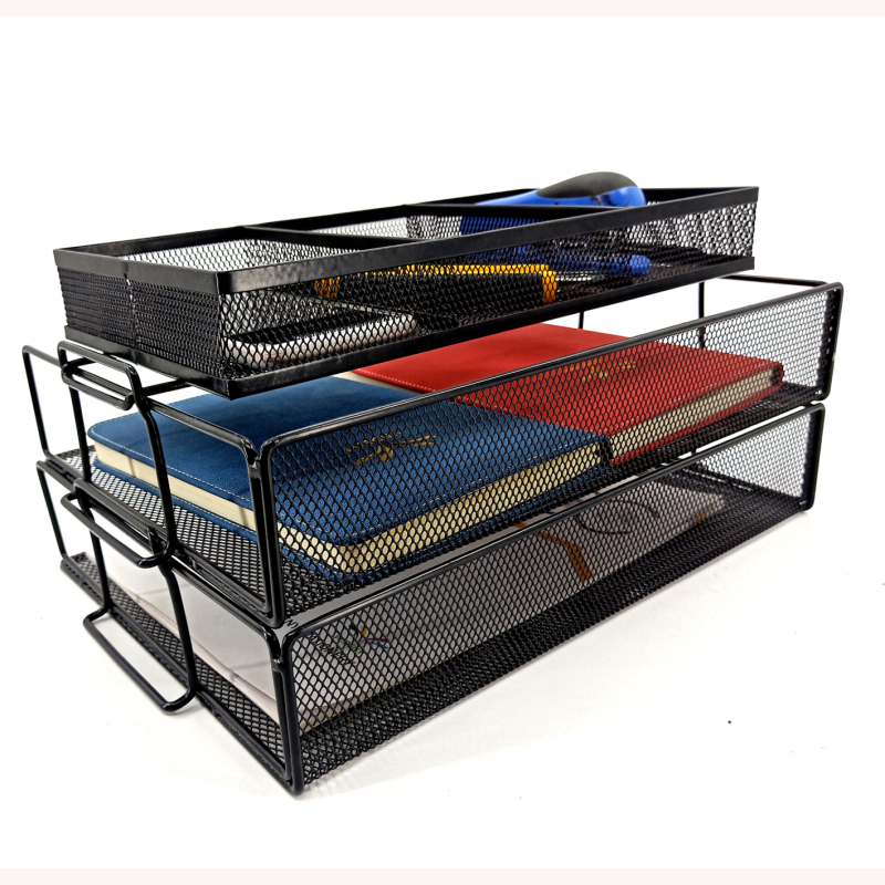 Metal Mesh Stationery Multi-function Black Metal Wire Mesh File Folder Document Tray Foldable Desk Organizer