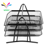 Wideny Office 3 tier wire metal mesh folding stackable Desk Organizer A4 paper document tray