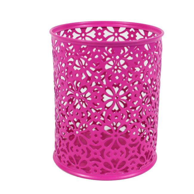 Hot selling school office home metal mesh desktop pink stamping flower pen holder